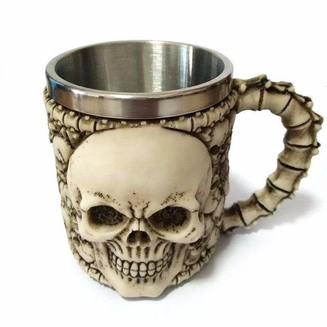 10 Variations Double Wall Stainless Steel 3D Skull Mugs Coffee Tea Skull Drinking Cup