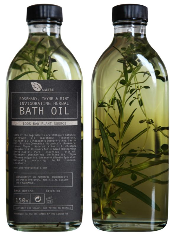 AMBRE BOTANICALS // ROSEMARY, THYME AND MINT INVIGORATING HERBAL BATH OIL 150ml // £18  All Ambre products are from 100% raw natural high grade cold pressed essential oils and suitable for vegetarians and vegans.