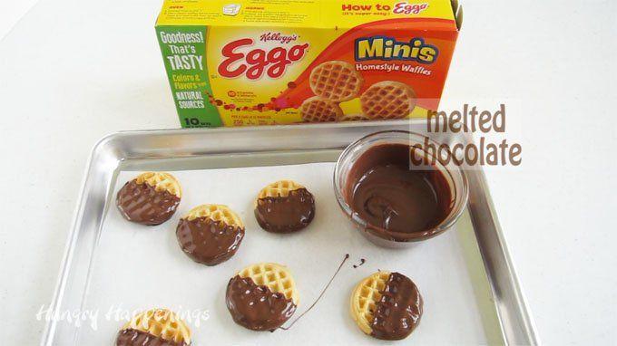 Chocolate dipped Eggo Minis Waffles.