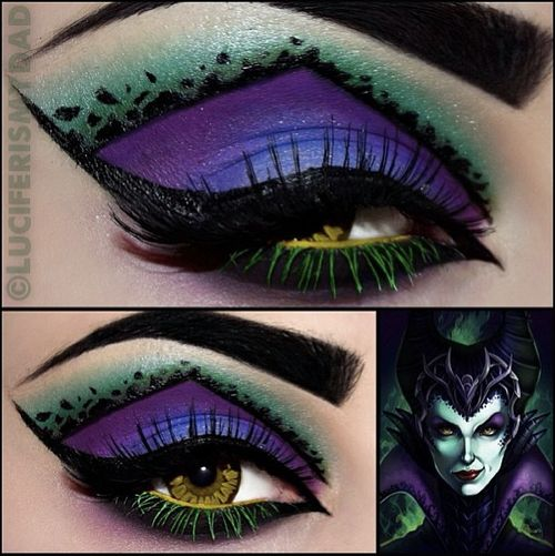 Maleficent inspired look by the ridiculously talented Luciferismydad! She used Sugarpill Poison Plum & Bulletproof, with Coastal Scents ...