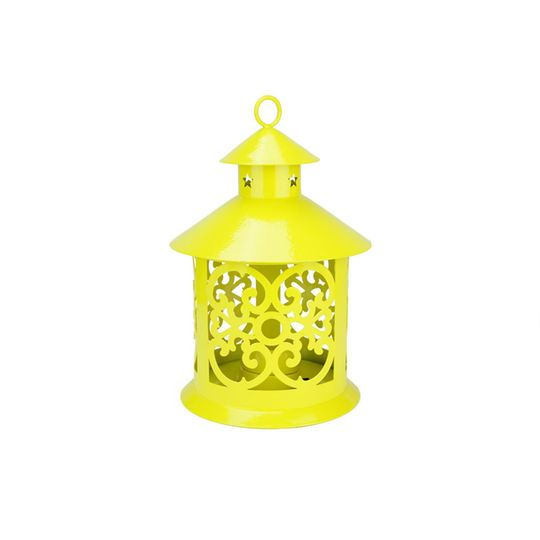 """8"""" Shiny Yellow Candle Holder Lantern with Star & Scroll Cutouts"""