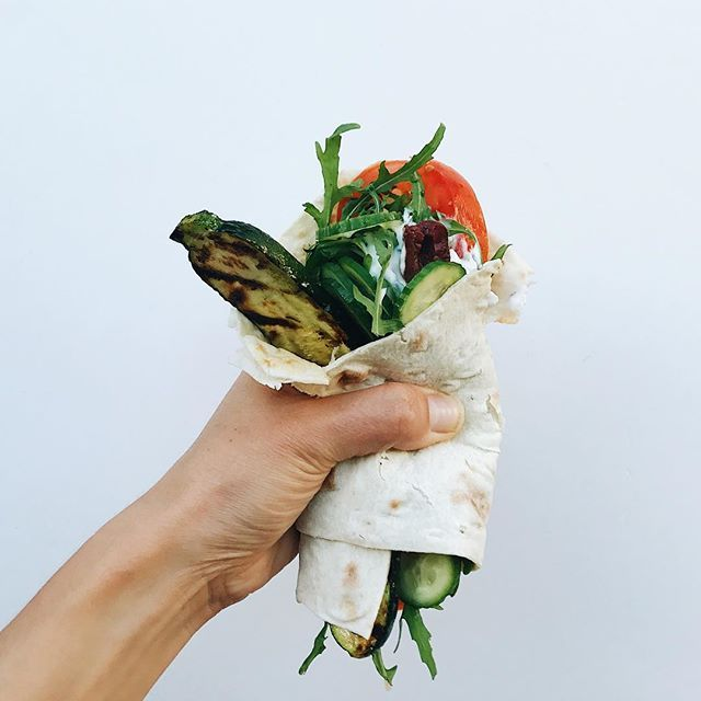 Speedy dinner wraps. Veggies, olives and grilled zucchini all made delicious with a quicky yogurt feta sauce: 1 cup whole milk yogurt, 3 oz good feta mashed in, little lemon zest, 1 grated garlic clove, chopped mint/chives/basil and a sprinkle of salt, pep and red pepper flakes.