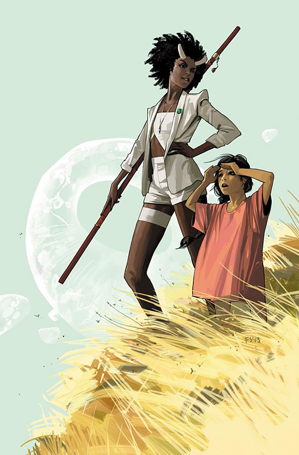 Saga #14 (Image Comics) On two sides of the galaxy, there are two sets of people who seem destined to meet with almost inevitably tragic consequences.  Every personality on panel is vibrant and fully fleshed out in Brian K. Vaughan's script while Fiona Staples' artwork once again draws you into this colorful tableau.