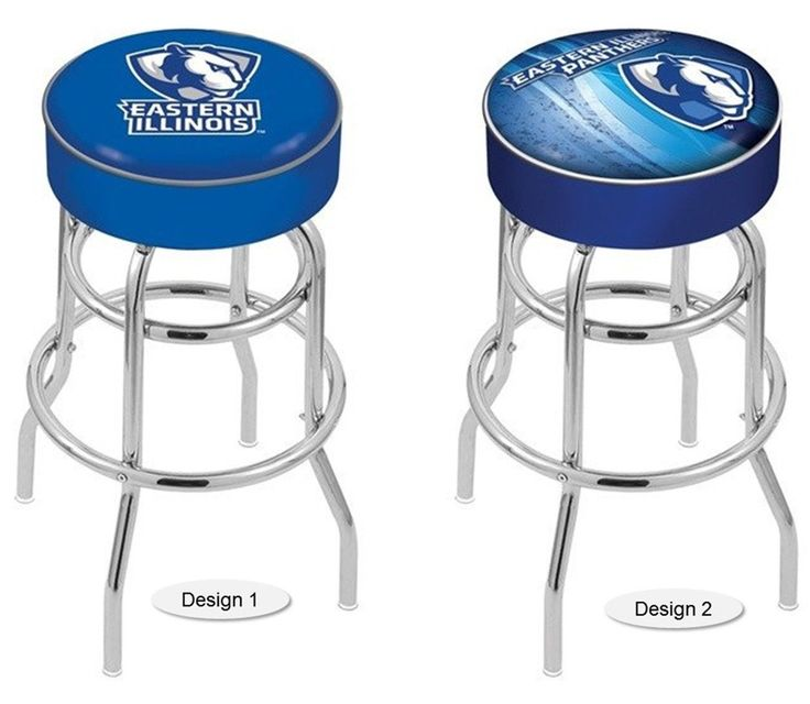 The NCAA officially licensed Eastern Illinois Panthers Bar Stool has a 4-inch cushion with a tough double-ring base and a chrome finish. Free shipping. Visit sportsfansplus.com for details.