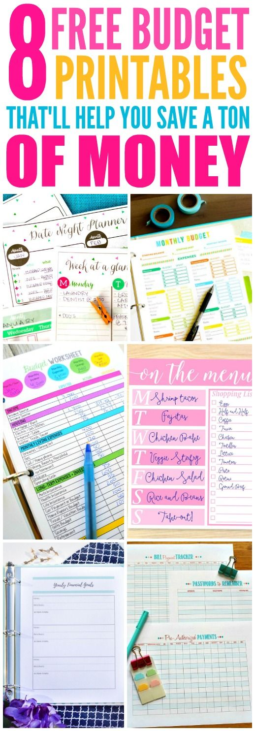 These 8 Free Budget Printables are THE BEST! I'm so glad I found these AMAZING ideas! Now I have great ways to make a budget and save money! Definitely pinning!