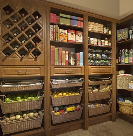 Ultimate pantry:  I wish.  I think I need help, my pantry is no where near this lovely.  I need a professional organizer!