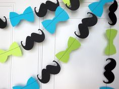 Mustache and bow tie garland in lime and aqua.