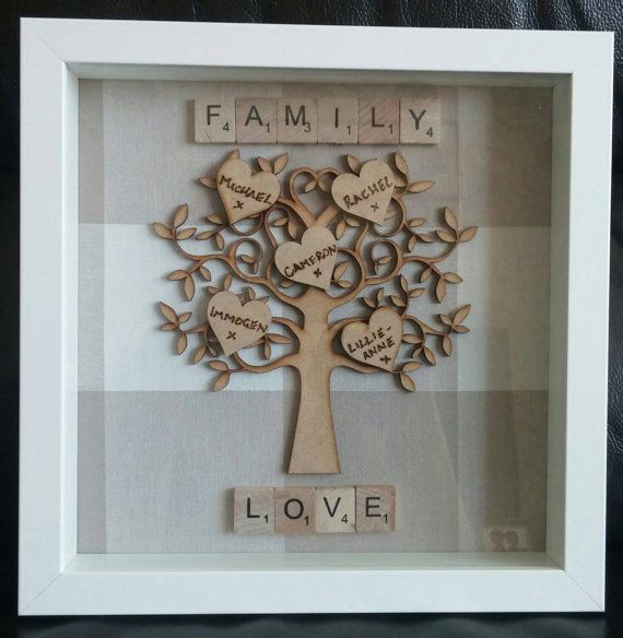 Framed wooden family tree with names in love hearts 23cm x 23cm deep box frame