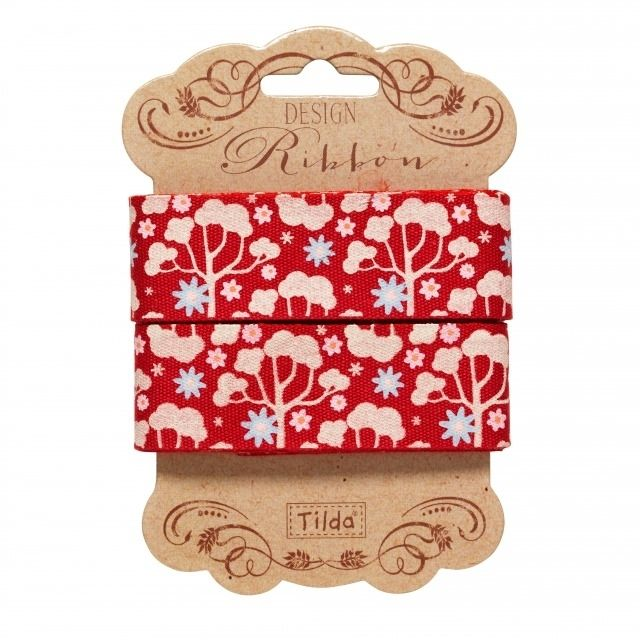 481122 Tilda Ribbon, 25mm, Wild Garden Red Limited