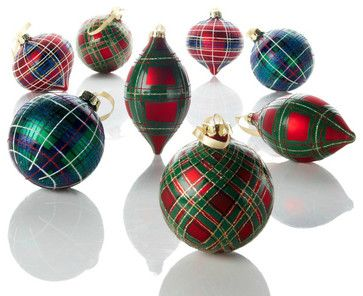 Jeffrey Banks Plaid Tidings Glass Ornaments traditional holiday decorations