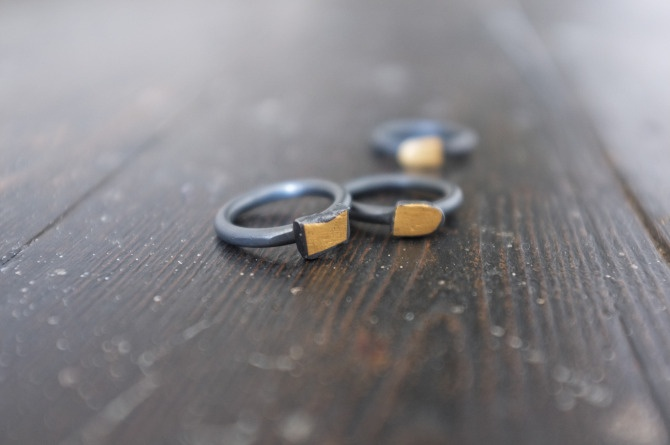 Sterling silver ring - gold keum-boo & black patina