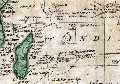 The Chagos as Bassas de Chagas on 1794 Samuel Dunn map section