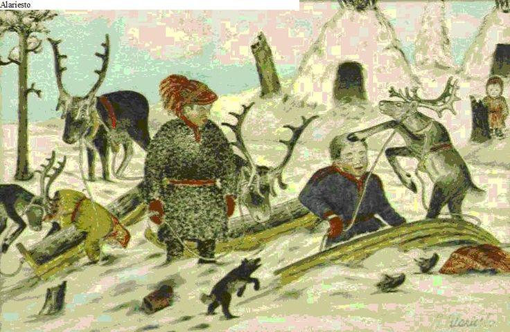 Sami Preparing Reindeer Sled - Andreas Alariesto