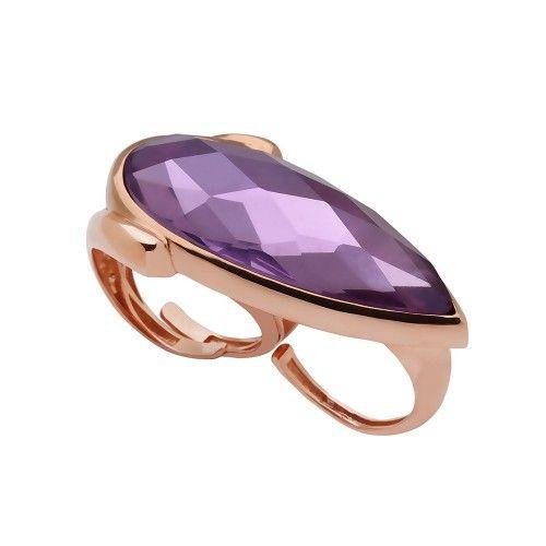 Celine Collection Mor Kristal Taşlı Rose Gold Kaplama 925 Ayar Gümüş Yüzük #ring #silver #rose #stone #purple #brilliant #fashion #jewellery #accessorize #women #trend #sochic #moda