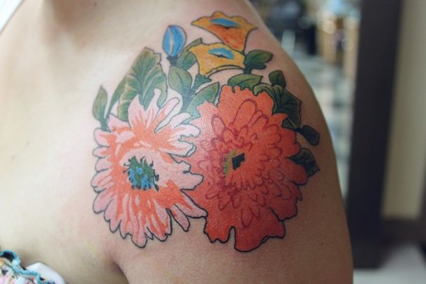 beautiful floral tattoo ink