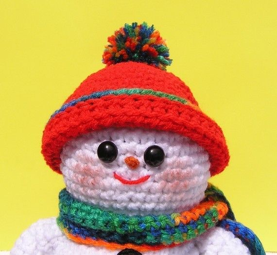 **PLEASE NOTE THAT THIS IS A PATTERN ONLY - NOT THE FINISHED SNOWMAN**  It is still warm where I live but I had a vision just pop into my head of a little snowman skiing and I had to design him. So here he is. He stands about 9 1/2 tall and his skiis are 10 long. He is done almost all in single crochet except for the trim on his hat, his scarf and his skiis which are done in half double crochet. He was designed and made all in one afternoon, so he is a fast and easy pattern. If you have any…