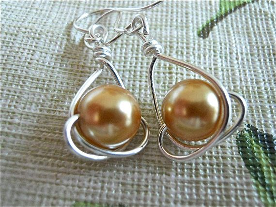 Golden Pearl Earrings and Silver Wire wrapped Pearls by JoJosgems