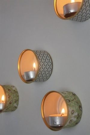 recycled tin wall lamps by Jessica Christman by lucy