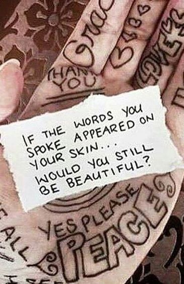 If the words you spoke appeared on your skin, would you still be beautiful?