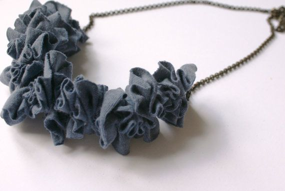 Ziczac fabric necklace Blue Long necklaces by ganbayo on Etsy