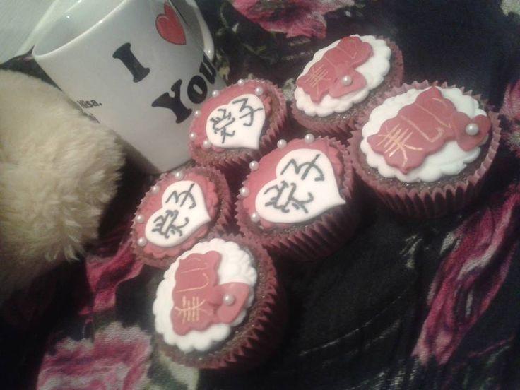 Handwritten Japanese Love cupcakes