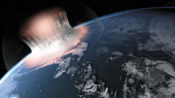 An artist's illustration expression of how a large meteorite impact in the sea might have looked in the first second of the impact.  Scientists are unsure if the oldest meteorite crater on Earth, a 3 billion-year-old crater in West Greenland, was actually covered in water at the time. Image released June 28, 2012.
