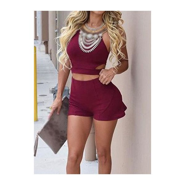 Cutout Waist Wine Red Two Piece Romper ($19) ❤ liked on Polyvore featuring jumpsuits, rompers, wine red, brown romper, cut out romper, cutout romper, red rompers and patterned romper