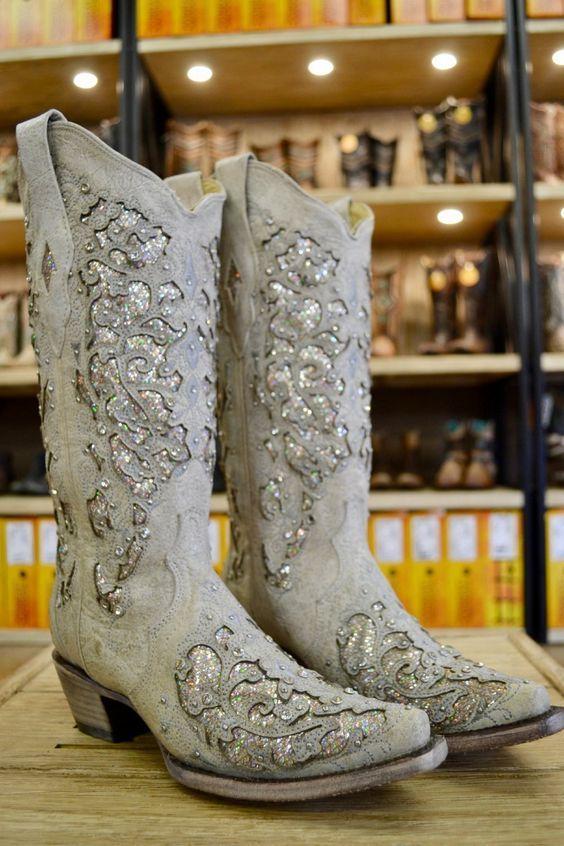 b1f8b096edd Corral Ladies White Glitter Inlay And Crystals Wedding Boots A3322 ...
