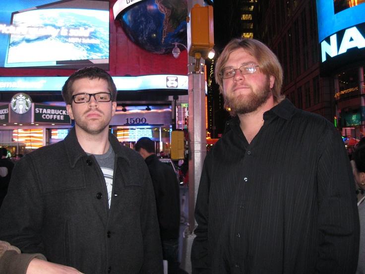 My Son Tim and nephew Steven in Times Square, Manhattan, NYC! Missing, my girl - Melinda! To top it off; my nephew Kris & Ryan.