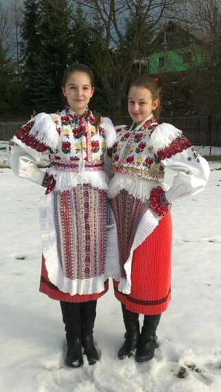 """My daughter with friend.Original """"kroj""""from Polomka,Slovakia,made by their grand-granies for them. Respect.."""