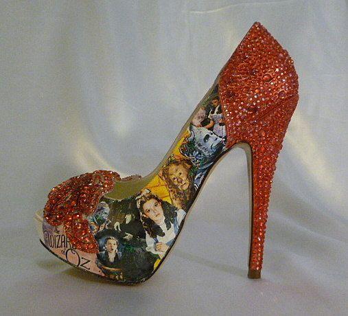 Wizard Of Oz Theme Wedding Shoes Bespoke Custom Design Swarovski Heels Digital Print