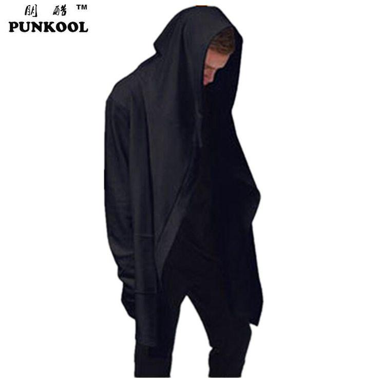 PUNKOOL European American Style Mens Avant-garde Hooded Trench Coat Men Full Sleeve Loose Streetwear Hip Hop Cloak Outerwear