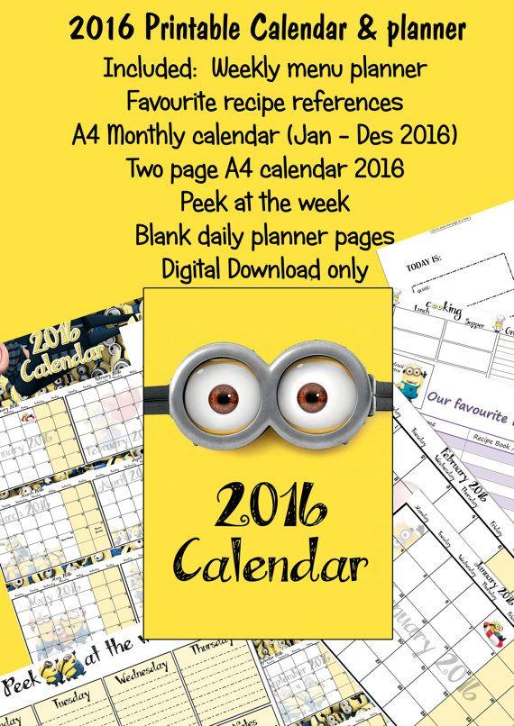 2016 Printable Calendar Daily Planner by Krummelscraps on Etsy