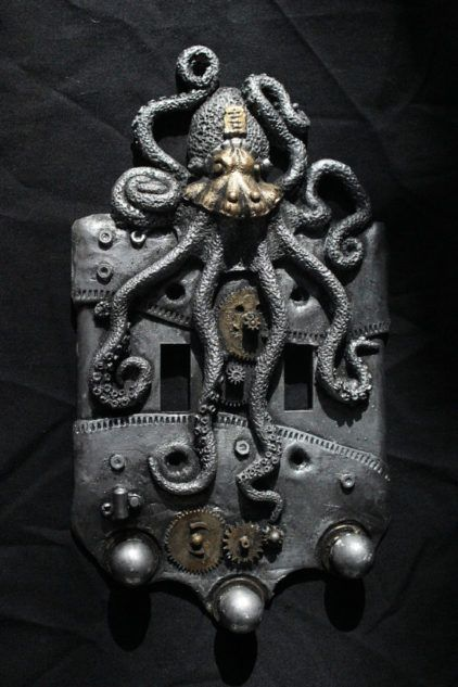 Steampunk Octopus double switch plate. Wall art sculpture wall decor home decor housewares. by WainmanStudios