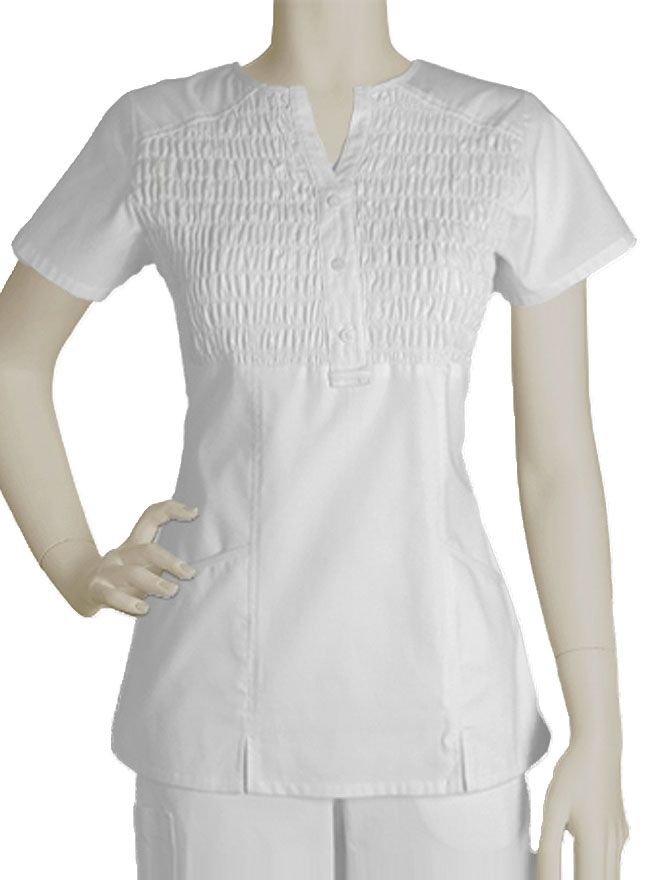 Style Code: (BA-41375) Exquisite and stylish, this Barco Prima scrub top comes with a refreshing all white design with functional features. This elastic shirred top has fashion detail seams and stitching.