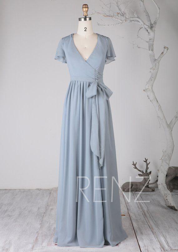 cd1bf49df3d Bridesmaid Dress Dusty Blue Chiffon DressWedding DressV Neck