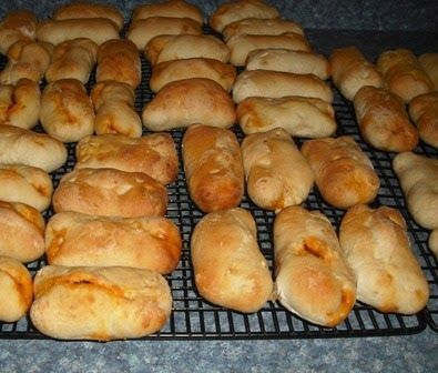 These yummy individual pepperoni rolls are easy to make from frozen bread rolls. I buy bags of either 36 or 72 Rhodes frozen dinner rolls ...