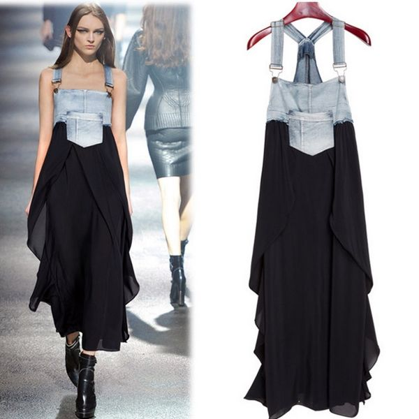 Color Block Boat Neck Denim Patchwork Long Dresses