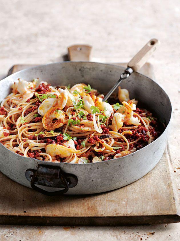 Chorizo And Garlic Prawn Pasta | Donna Hay