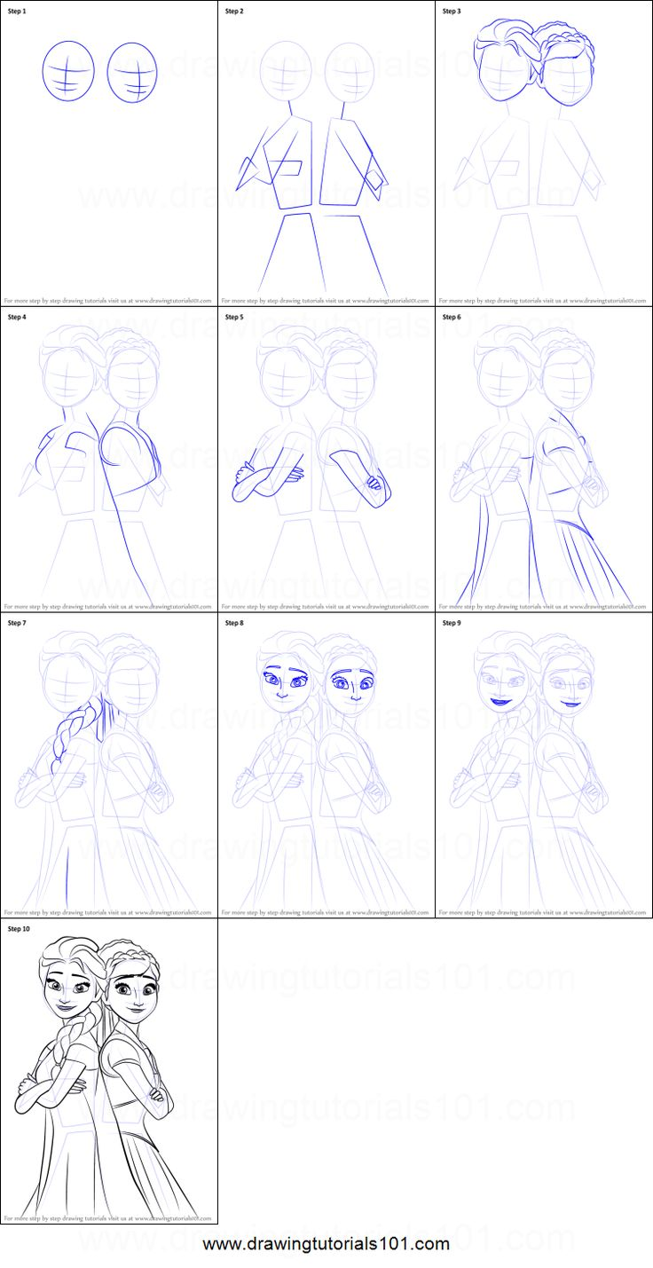 How to Draw Elsa and Anna from Frozen Fever Printable Drawing Sheet by DrawingTutorials101.com