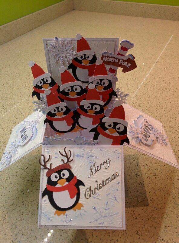 Christmas box pop up card penguins