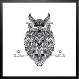 Bring a sense of exotic style to your home with this striking wall art by Monika Strigel. Featuring an owl design, it teams perfectly with mixed motifs, rich colours and carved wood furniture for an eclectic look.  Product: Framed art printConstruction Material: Plexiglas and pinewoodFeatures:  Original artwork by Monika StrigelMatte lacquered finishShatterproof Gallery quality print Mounting hardware included Made in Germany