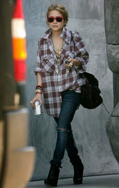 Grunge street style for Ashley Olsen