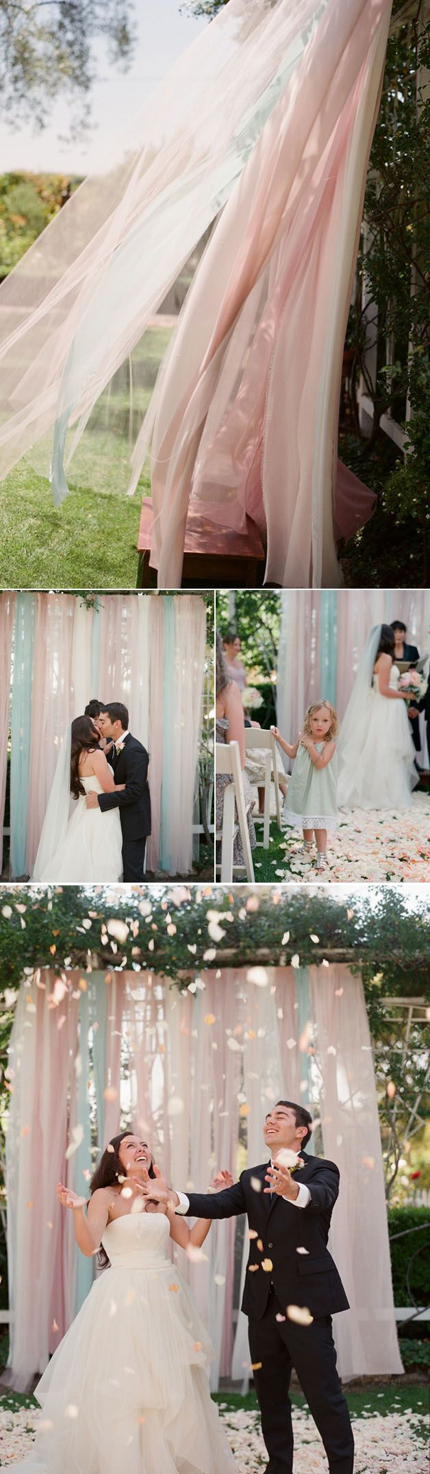 For the ceremony, the bride made a backdrop of floaty pink and aqua fabric, that swayed in the breeze…