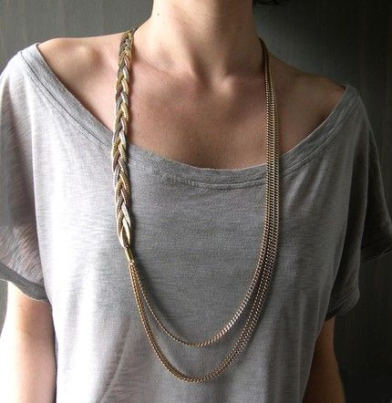 cute necklace. can diy.: Ideas, Anchors Bracelets, Shirts, Braids Bracelets, Gold Necklaces, Chains Necklaces, Braided Necklace, Long Necklaces, Braids Necklaces