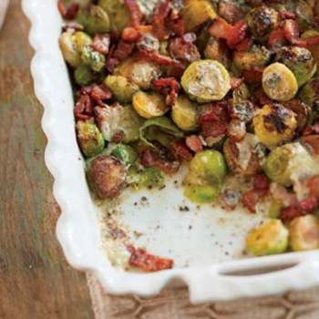 "BACON AND BLUE CHEESE BRUSSELS SPROUTS RECIPE: ~ From: ""Louisiana Cookin'.Com"". ~ Recipe Courtesy Of: ""CHEF JUSTIN GIROUARD""; of The French Press in Lafayette."