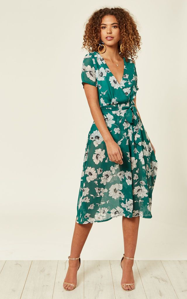 968a7254b938d Green Floral Wrap Over Midi Dress By Oeuvre | Dresses | Dresses ...