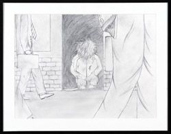 'Alone' by artist Rabyang Tenzin can be yours for $5! This graphite illustration will be raffled at our Art Auction on April 13th raising funds for the homeless in Toronto! Material: graphite on paper