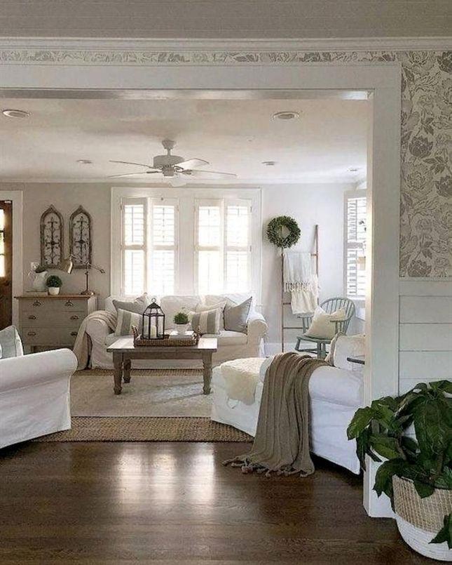 Cozy Farmhouse Living Room Decor Ideas #LivingRoomDecoration Home