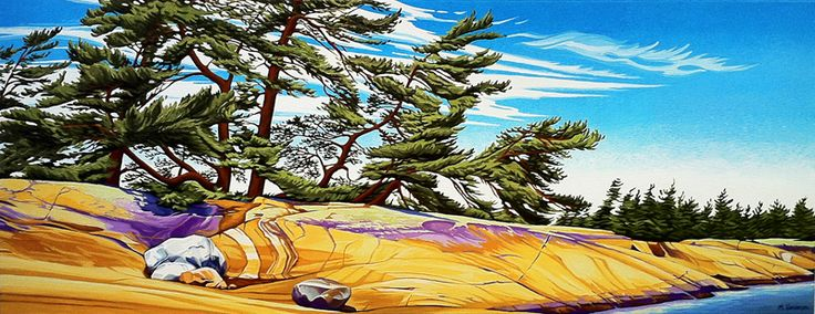 Windswept Pines, oil on canvas, 20inches x 48inches SOLD